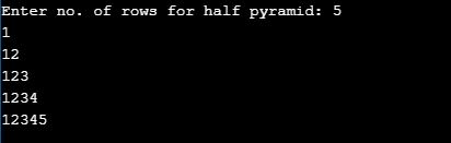 Half Pyramid Pattern in c of number