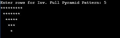 Inverted Full Pyramid Pattern in c