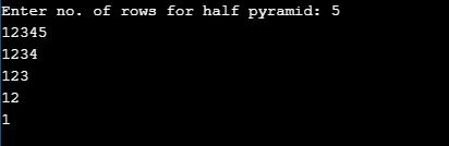 Inverted Half Pyramid Pattern in c of number