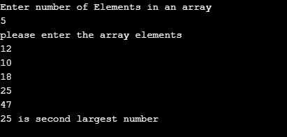c program to find second largest number in an array