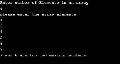 c program to find the largest two numbers in a given array