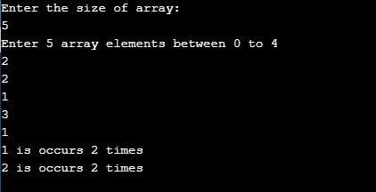 count repeated elements in an array java