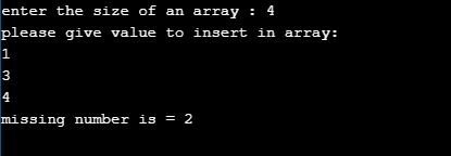 missing number in array in c