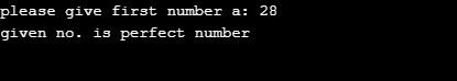 perfect number program in python