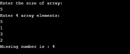 program to find missing number in an array in java