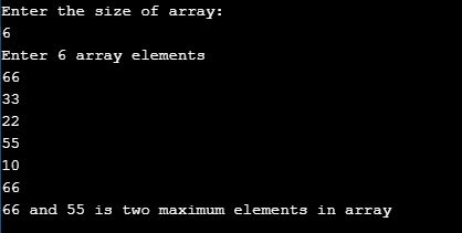 two maximum number in an array java