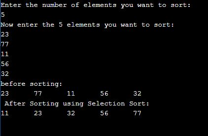 selection sort program in c
